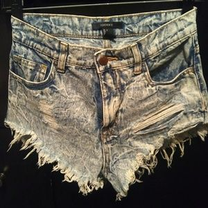 High waisted destroyed jean shorts.